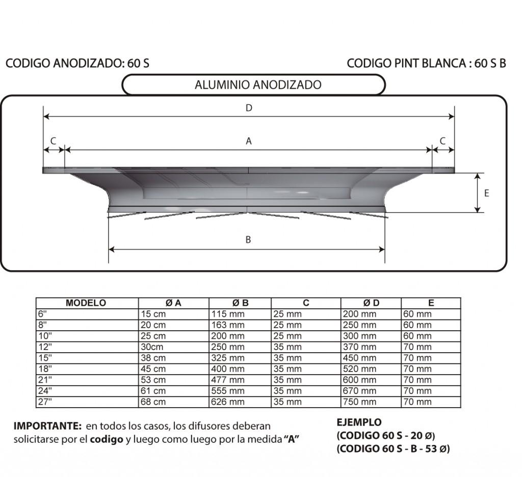 DIFUSOR TIPO S1 ALUMI - PLANOS